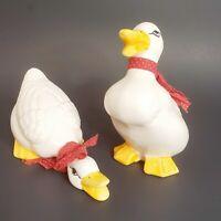 Vintage Pair of Ceramic Ducks Geese Figurines White w/ Red Bows Detailed Eyes