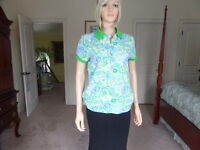Lilly Pulitzer Green/Blue Flower Print Cotton Knit Top Size M
