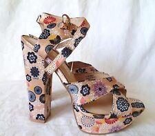 RIVER ISLAND BEIGE-CREAM FLOWERY HIGH HEEL SANDALS-SHOES,UK 4-EURO 37,BRAND NEW