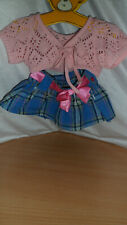 build a bear pink top and blue skirt