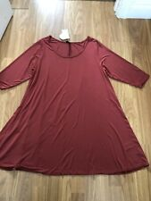 BNWTS. EVANS. SIZE 20. DARK TAN BROWN, STRETCH, SHORT SLEEVE, LONG TUNIC TOP