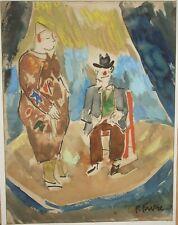 CLOWNS DESSIN et AQUARELLE GOUACHE de Pierre  FAVRE peintre 20 è