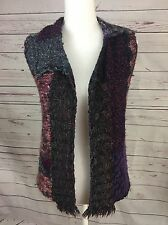 Curio Anthropologie Patchwork Asymmetric Fringe Sweater Vest Boho Small A10