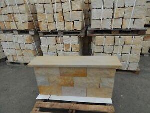 Mauerstein Sandstein Abdeckplatten 100x28x4 cm - mit Wassernase - Naturstein