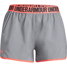 Under Armour Women's Woven Play up Shorts in Charcoal/neon Coral XL