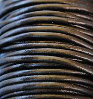 5 metros de cordón de cuero 3mm, color Negro, couro, leather, cuir, leder