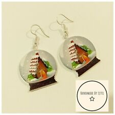 Snow globes Christmas dangle drop Earrings🎄Wooden30mm🎄Recycled Buttons house