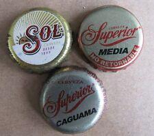 3 DIFFERENT MEXICAN  SOL SUPERIOR CERVEZA BEER BOTTLE CAPS
