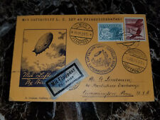 1929 Vienna Austria Graf Zeppelin postcard cover 1st NAF to USA