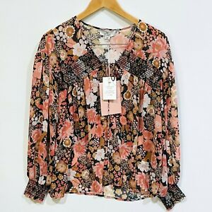 We Are Kindred Size 8 (Aus) 4 (US) Cleo Shirred Blouse Vintage Floral