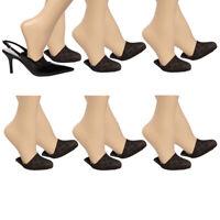 6pk Appleseed's Womens Diamond Pattern No Show Half Socks Nylon Women Toe Cover