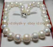 "RARE WHITE ROUND SOUTH SEA BAROQUE PEARL HUGE 13-17MM NECKLACE 18"" JEWELRY BOX"
