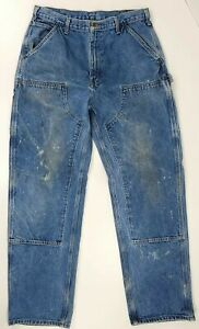Vintage Carhartt Double-Knee Dungaree Carpenter Pants Distressed B06 USA 34x34
