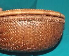 Vintage wicker sewing basket reed round wicker sewing basket w/lid
