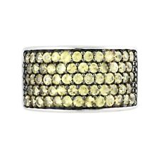 Pinctore Sterling Silver Pave Yellow Sapphire Wide Band Ring