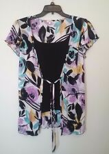 Womens Nicola layered look top size Large, black, purple yellow floral, tie *994