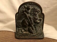 Antique Hubley Cast Iron Book End Bookend St. George Slaying Dragon 312