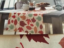 "Threshold Leaves Leaf Table Runner 20"" x 90""   Extended Length & Width Orange"