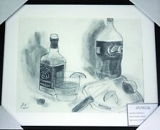 Original Fine Art Charcoal Drawing- Jack & Coke