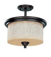 Patina Bronze And Saddle Stone Glass Energy Star Semi Flush Ceiling Light