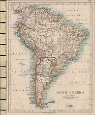 1892 VICTORIAN MAP ~ SOUTH AMERICA ~ ARGENTINA CHILE PERU BRAZIL BOLIVIA etc