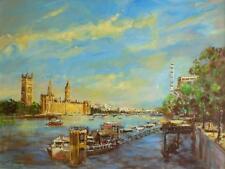 Superbe original Martin ULBRICHT huile Westminster Tamise Big Ben peinture