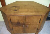 amy size made SOLID WOOD CHUNKY RUSTIC PLANK PINE CORNER TV CABINET STAND UNIT