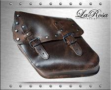 1996-2017 La Rosa Rustic Brown Leather Rivets Style Harley Dyna Left Saddlebag