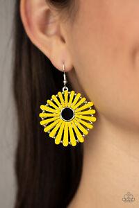 Paparazzi  ~ SPOKE Too Soon Yellow Wooden Earrings ~ 🔥NEW RELEASE 2021🔥
