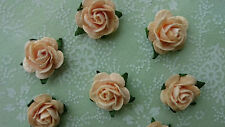Peach Mulberry Paper Roses, 15mm, Wedding, Craft Embellishment