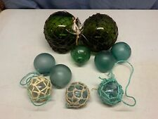 Lot Of 10 Assorted Round Glass Fishing Floats Green Buoy
