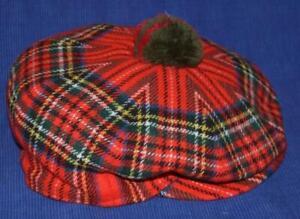 Vintage AUTOCAP HAT sz 7 Wool Scotland red Plaid Newsboy Paperboy Cabbie