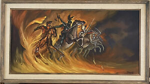 MID CENTURY Original Oil PAINTING The Four Horsemen of the Apocalypse Signed