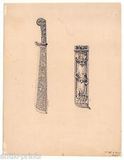 1790 Jagdwaffe-Messer-Jagd sehr feine Tuschezeichnung v. E. Renarx - Waffe