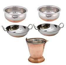 5 Pcs Set Stainless Steel Table Serving Balti|Kadai Copper Bottom Mini Wok|Handi