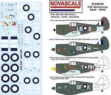 RAAF CAC Boomerang WWII Decals 1/48 Scale N48049