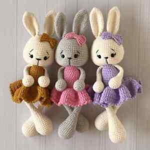 CROCHET PATTERN for Lovely Bunny In Dress Toy Amigurumi