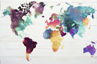 MAP OF THE WORLD - WATERCOLOR ART POSTER / PRINT (WORLD MAP)