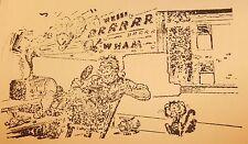 Vintage Letter Press Printing Block- Man talking on CB radio w/ a Cat graphic