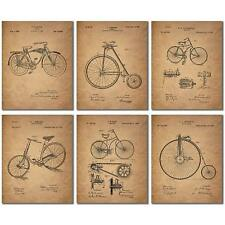 Set of 6 - Bicycle Patent Prints Poster - Unframed - Vintage Bike Decor Wall Art