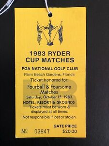 Ryder Cup 1983 Ticket Saturday Fourball Foursome Stub Jack Nicklaus Captain