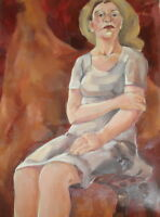 Vintage Impressionist oil painting woman portrait