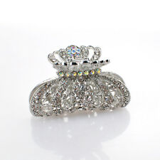 Metal Hair Claw Silver Crystal White Diamante Rehinestone hair claw clip