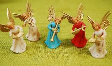 "5 Vintage 3"" Cherub ANGEL Christmas Figures - Singing Playing Ornaments"