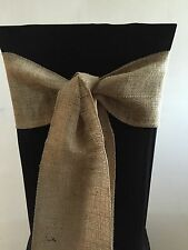 100 QUALITY HESSIAN BURLAP VINTAGE CHAIR SASHES Overlocked In Matching Cotton