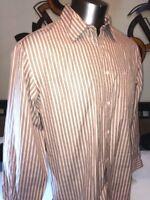 Faconnable Mens Long Sleeve Button-Front 100% Cotton Stripe Shirt (L)