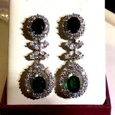 A11 Designer Emerald White Gold GF Dangle Earrings Swarovski Elements PlumUK BOX