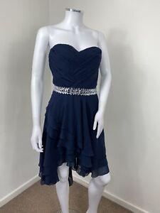 Lipsy Dress UK 12 Blue Floaty Embellished Party Wedding Strapless Handkerchief