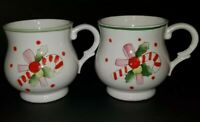 VINTAGE SET OF 2 RON GORDON DESIGNS CHRISTMAS CANDY CANE CERAMIC CUP HANDPAINTED