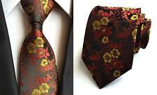 Flower Tie Black Red and Yellow Patterned Handmade 100% Silk Wedding Necktie